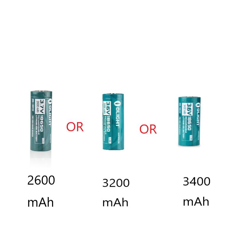 18650 Lithium-Ion 3400mAh/3200mAh/2600mAh Battery Options