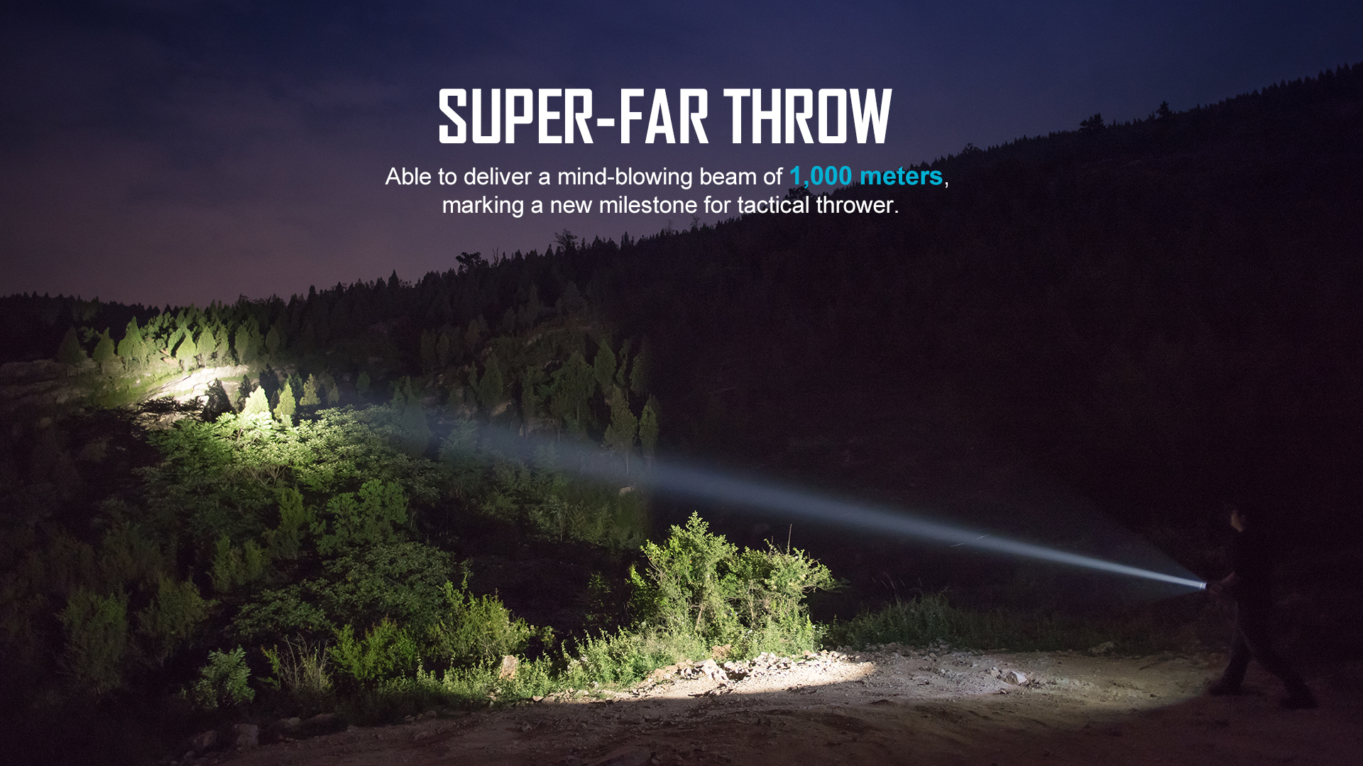 1000 lumens and 1100 meters throw